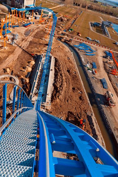 A new water roller coaster at Italy's Mirabilandia amusement park. When it opens this summer, it will be the world's tallest water ride dropping 197 feet at 65 miles an hour.