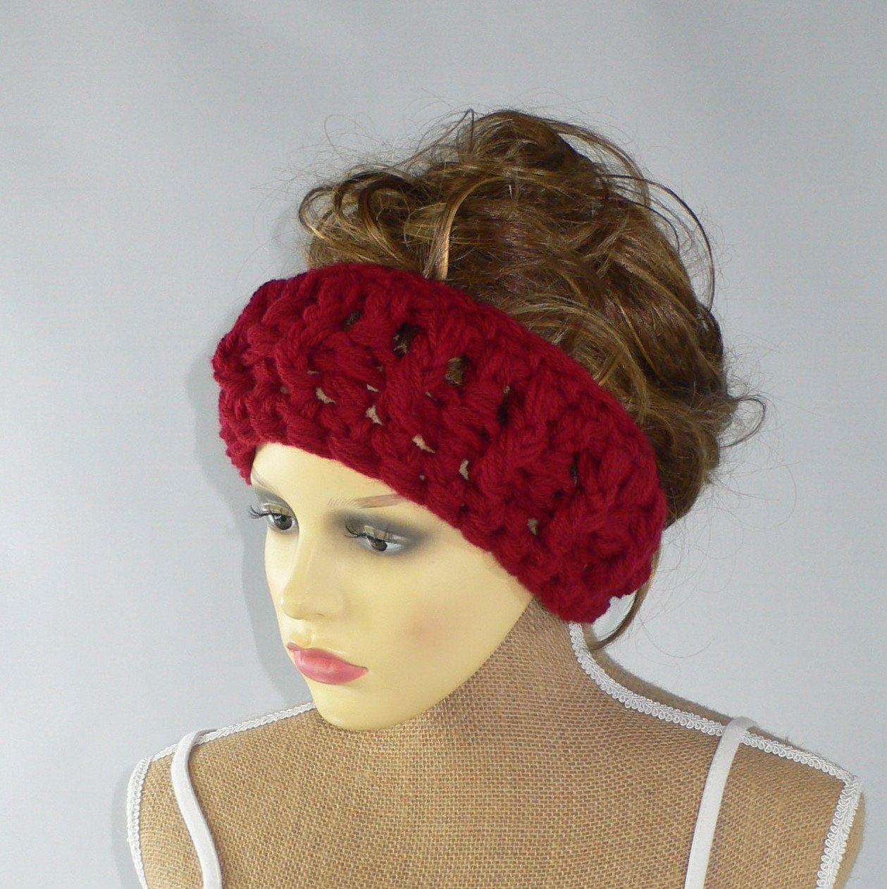 Wide Headband Rich Red Crochet Headband Dread Wrap Wide Headwrap