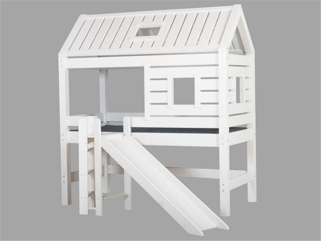 Kinderhochbett weiß mit rutsche  Baumhausbett-mit-Rutsche-Suwem-Foeoeniks-Rutschbett-Hochbett-mit ...