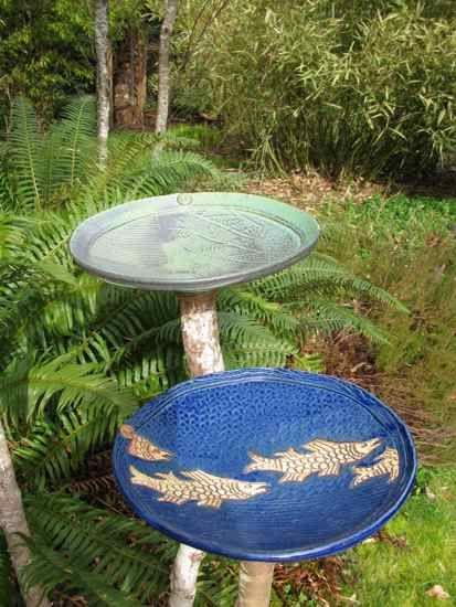 Garden Art Kennedy Creek Pottery Vogeltranke Gartenkeramik Vogelbad