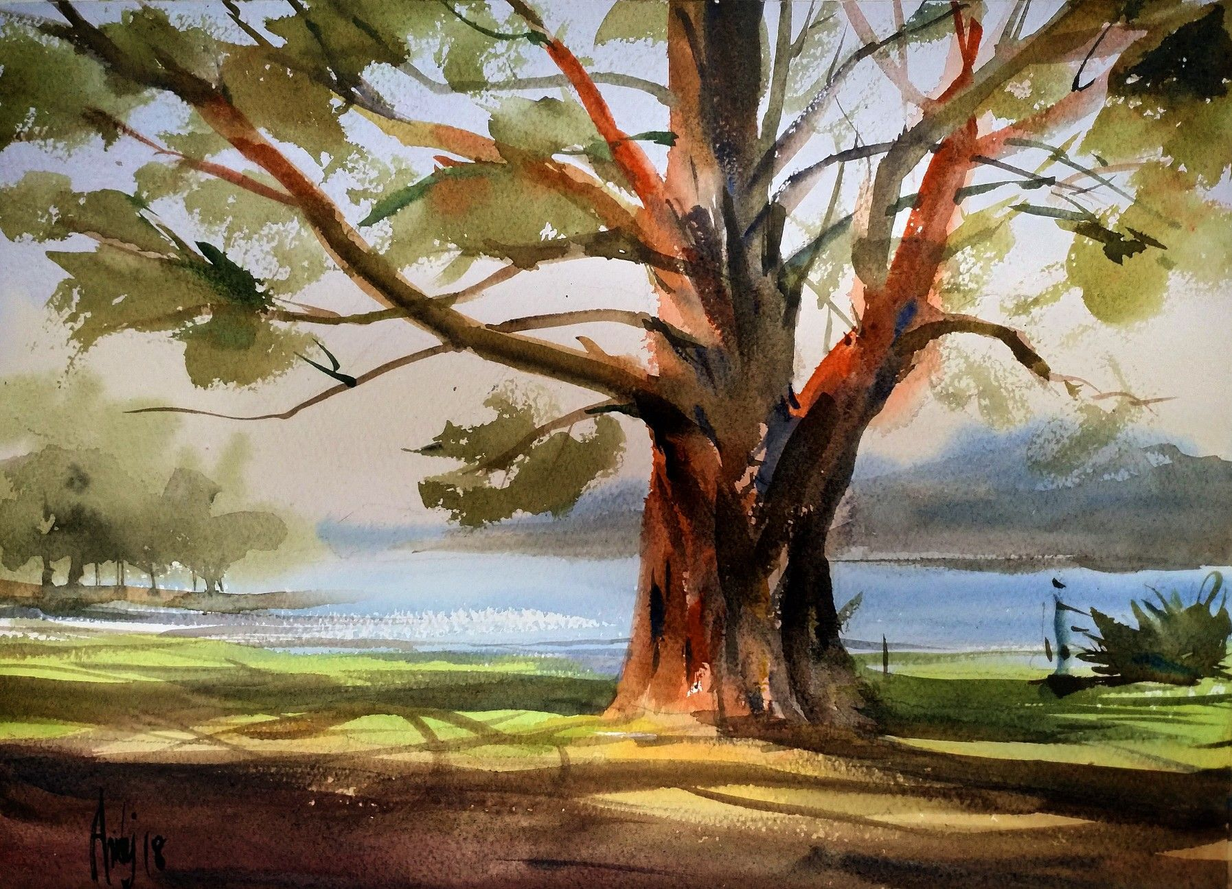 Big Tree Landscape Watercolor With Images Painting