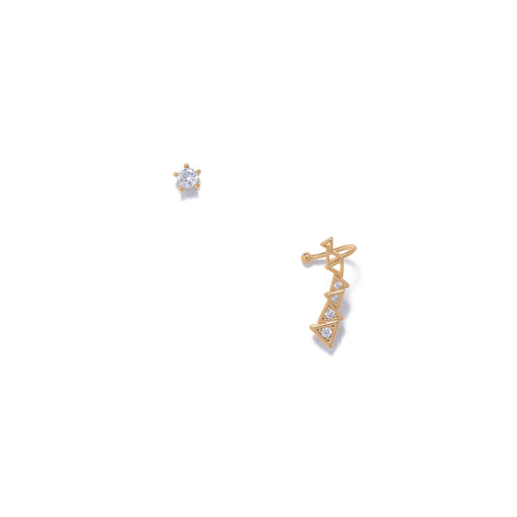 Modern citizen triangle crawler earring set gold