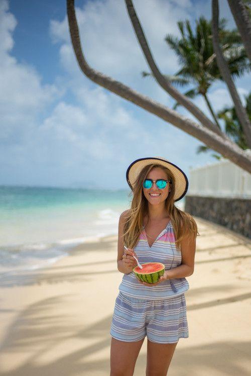 103044e91545 4.15 watermelon girl (Eugenia Kim hat + Ray Bans + Soft Joie romper)