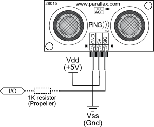 PING))) Sensor connection schematic to microcontroller I/O