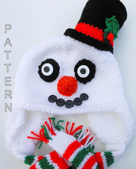 Knitting Pattern Snowman Hat Animal Hat Beanie Christmas Hat