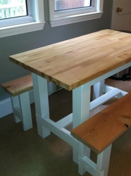 Farmhouse Table With Butcher Block Free Plans From Ana White Com Farmhouse Table Plans Farmhouse Table Butcher Block Tables