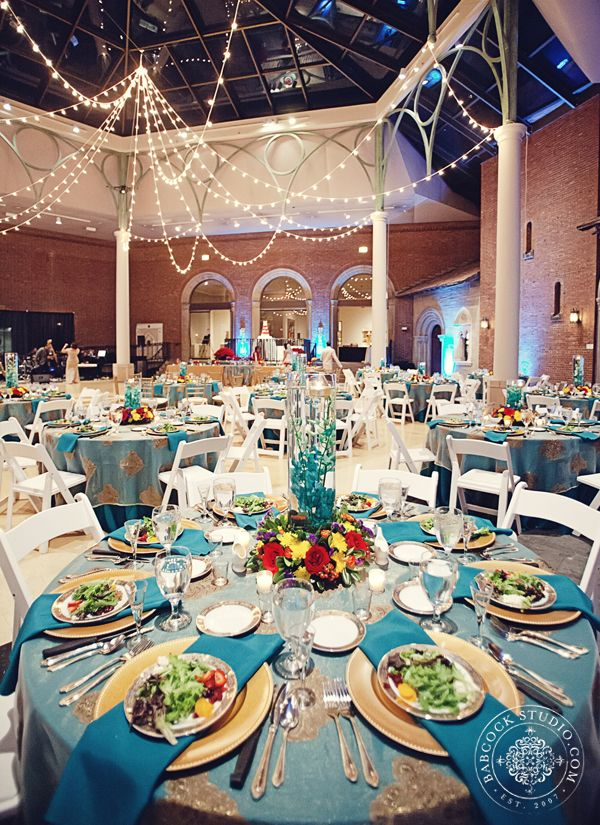 Gold And Turquoise Wedding At The Dayton Art Insute Image By Bab Studio Weddings Events Tablescape Primetimepr