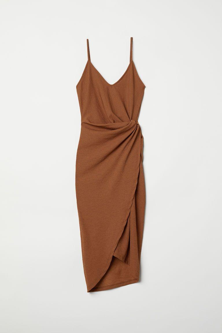 Draped Wrap-front Dress - Dark camel - Ladies | H&M US