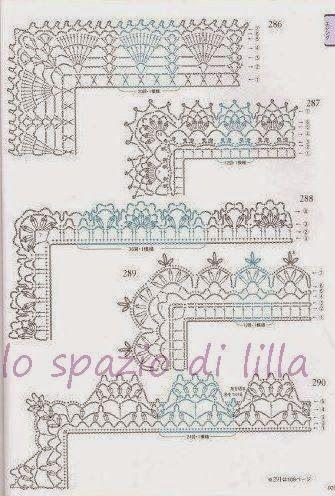 Lo spazio di lilla schemi di bordi crochet con angoli for Schemi pizzi uncinetto