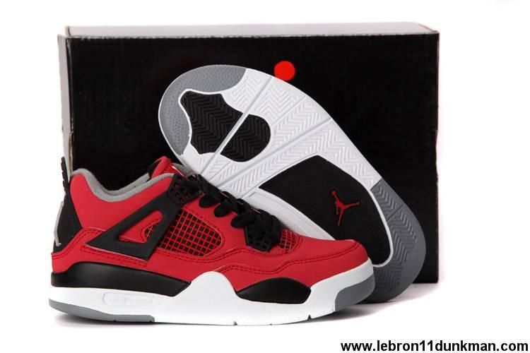 Latest Listing Kids Jordan 4 Fire Red/White-Black-Cement Grey Basketball Shoes Shop