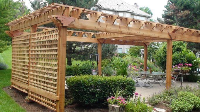 Pergola With Solid Back Wall Cedar Pergola Pergola Outdoor Pergola
