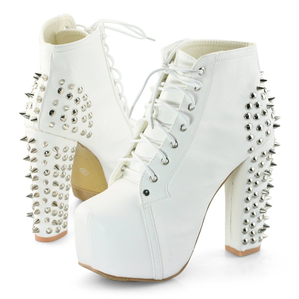 946a1162bc Womens spike stud lace up high block chunky heel platform shoes booties  boots