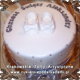 024 Bialy Tort Z Bialymi Bucikami Na Chrzciny White Cake With White Shoes For Baptism Desserts Cake Birthday Cake
