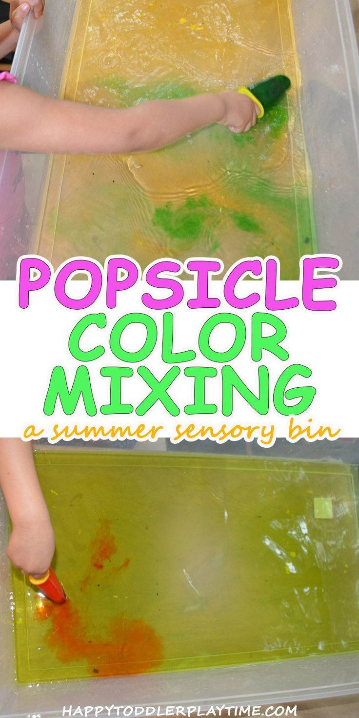 Popsicle Color Mixing Sensory Bin | Color mixing, Color activities ...