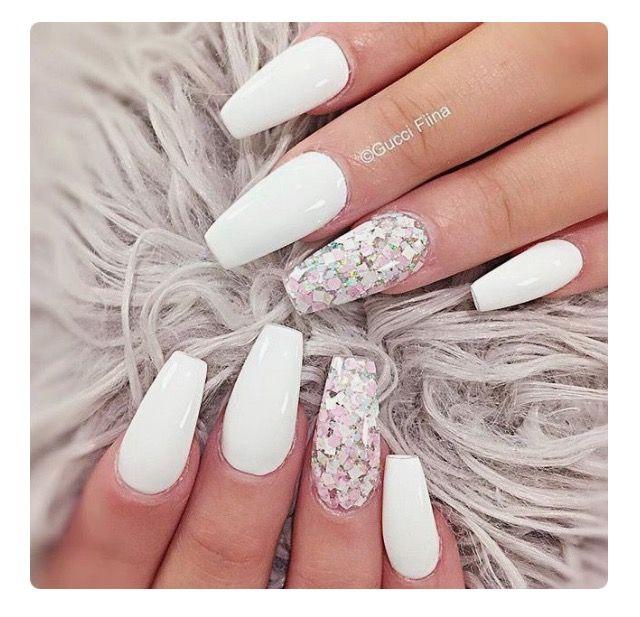 Pinterest Xbbygirlx Nails Coffin Shape White