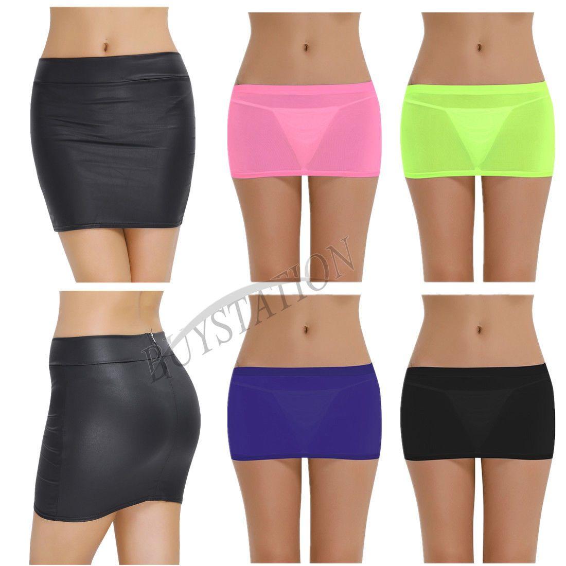 Women lingerie micro mini skirt sheer see through short dress
