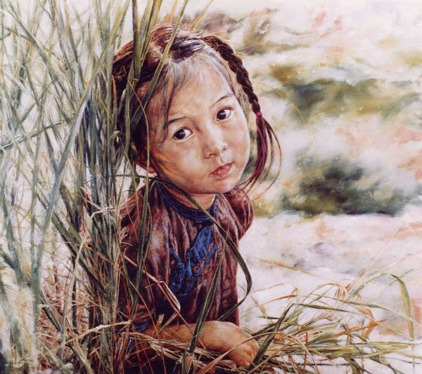ARTIST WAI MING - Asian Oriental Chinese Fine Art Artwork Paintings Catalog (title: Lovely Bright Eyes)