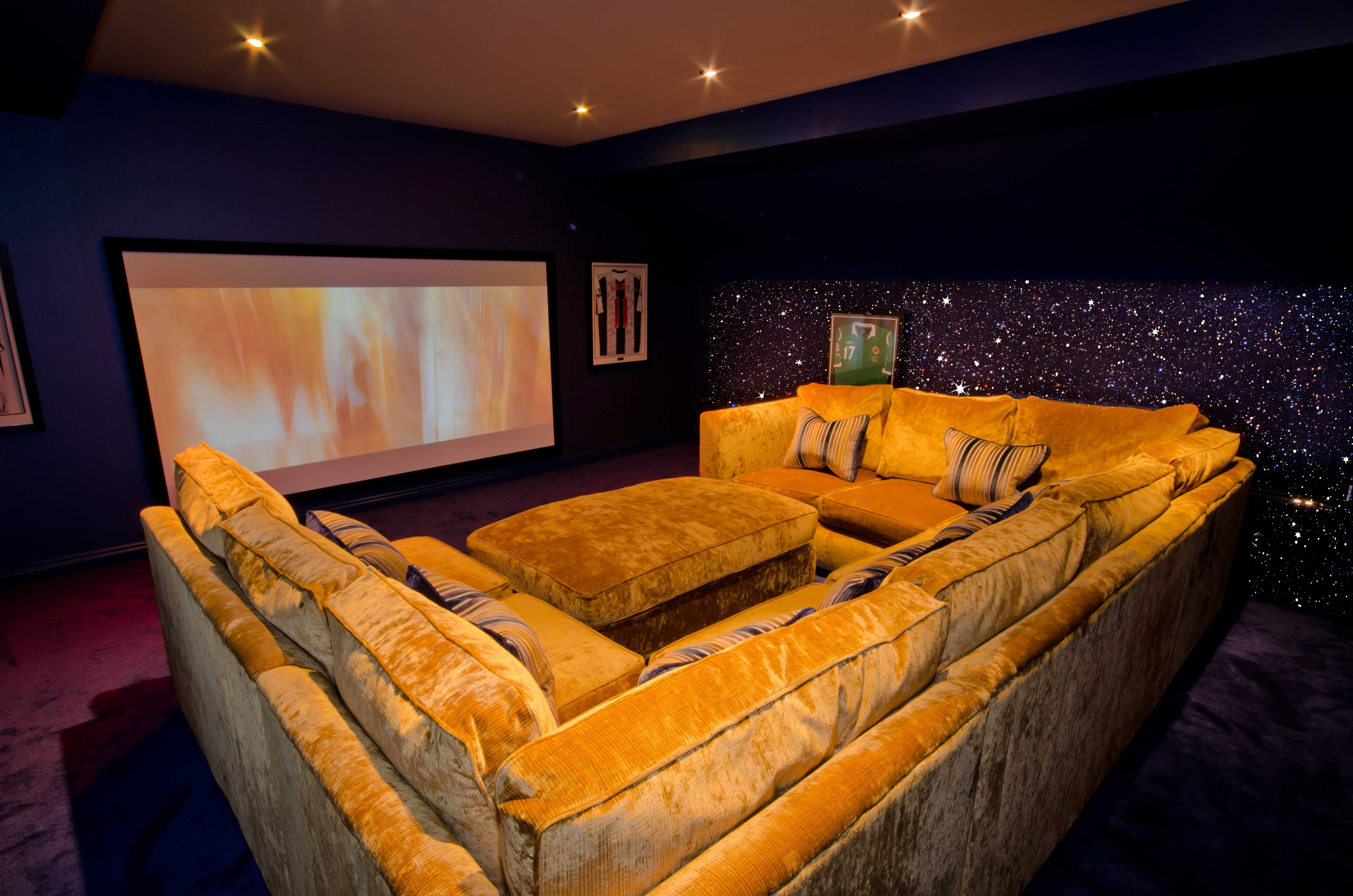 Navy Blue Glitter Walls In A Home Theatre Room Supplied By Glitterwall