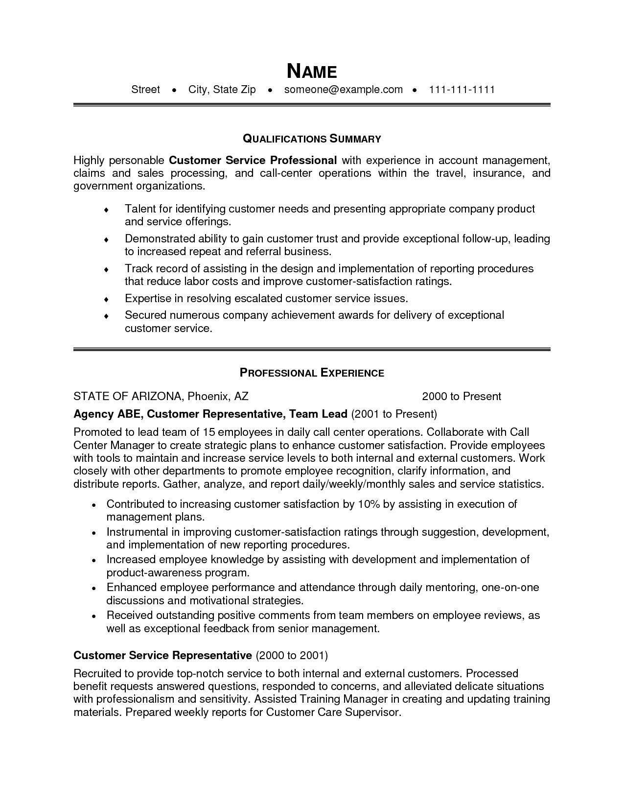 Resume Qualifications Summary Customer Service