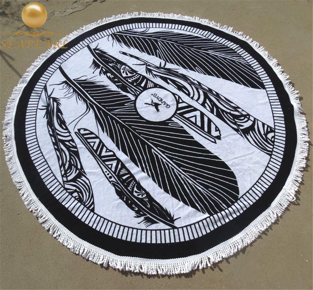 Round Beach Towels 100% Cotton 150cmx150cm 1000g Feather Print White Black Bath Towels Tassel toalla playa Adult Round Cape