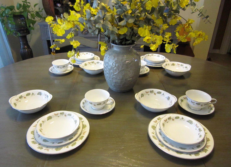 Vintage Noritake China China Pattern Vineyard - 6449 Green Vine Leaves Platinum Rim & Vintage Noritake China China Pattern Vineyard - 6449 Green Vine ...