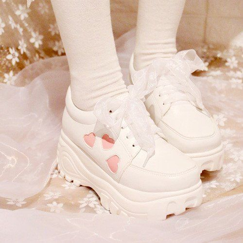 045416fc4403 High and Low Platform Princess Heart Sneaker Shoes HF00910 ...
