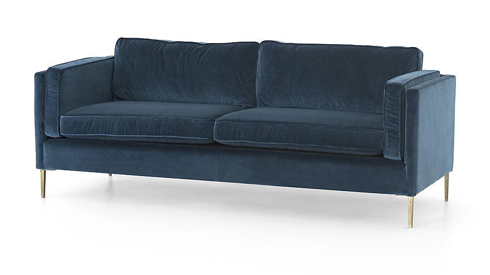 Rosalina 84 Blue Velvet Sofa Crate And Barrel Blue Velvet Sofa Velvet Sofa Velvet Couch Living Room