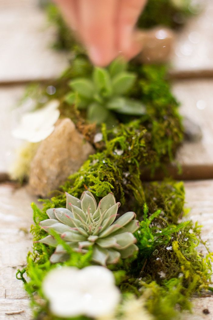 Willow Designed Wedding Centerpiece. Moss Table Runner With Loose  Succulents, Mini