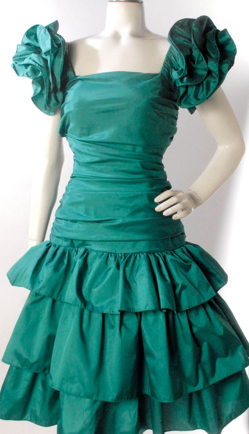 Vintage 80s Dress 80s Prom Dress Green Prom by northstarvintage ...
