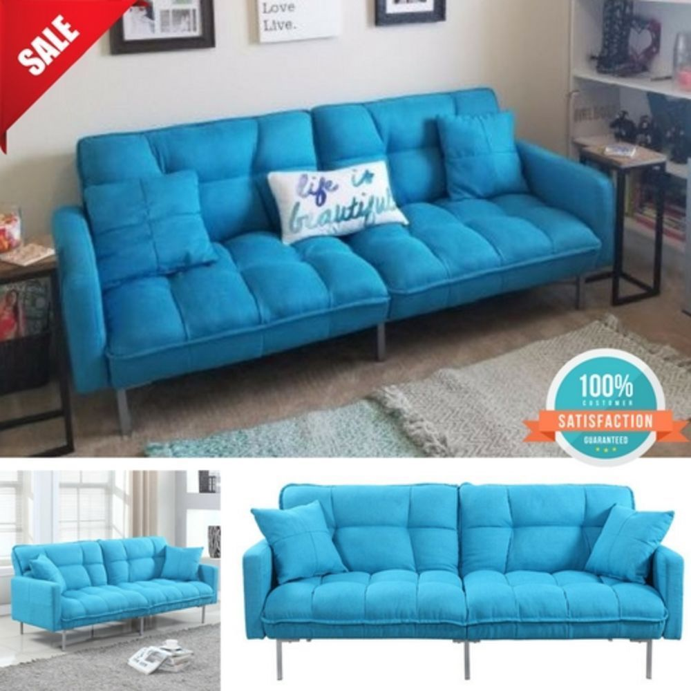 Convertible Futon Sleeper Couch Sofa Bed Loveseat Lounge W/ HYPOALLERGENIC  FILL