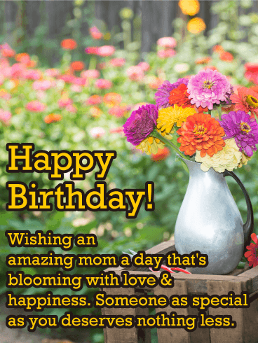 Colorful Flowers Happy Birthday Card For Mother Birthday