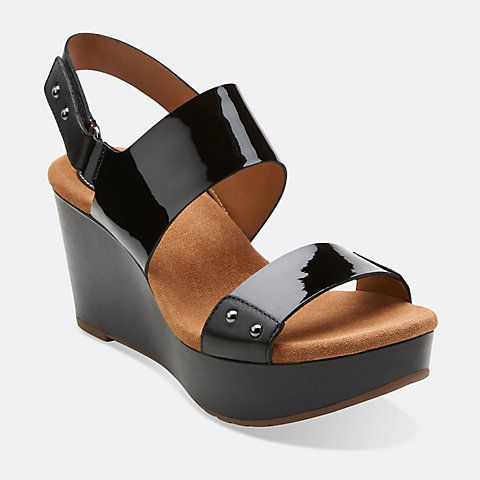 Womens Sandals Clarks Caslynn Dez Black Patent Leather