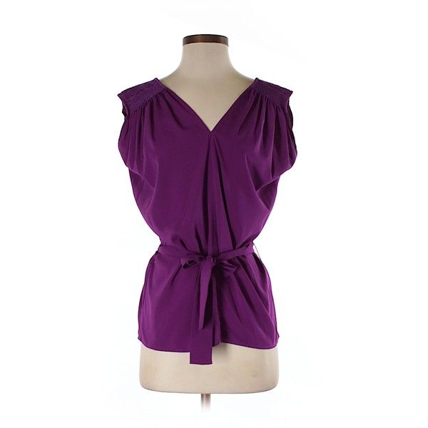 Pre-owned Twelfth Street by Cynthia Vincent Sleeveless Blouse Size 4:... ($25) ❤ liked on Polyvore featuring tops, blouses and purple