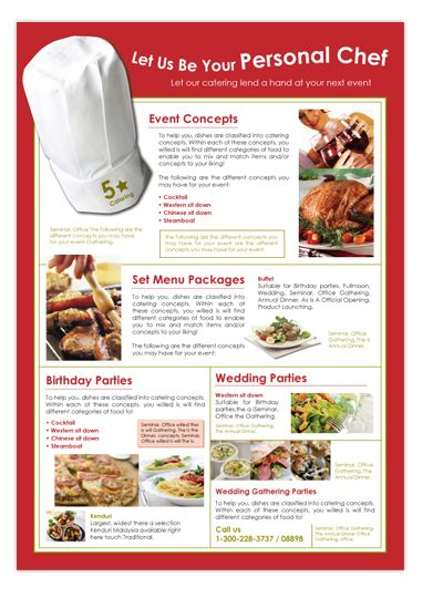 Design of Flyers for our client Edwards Catering. | Menu ideas ...