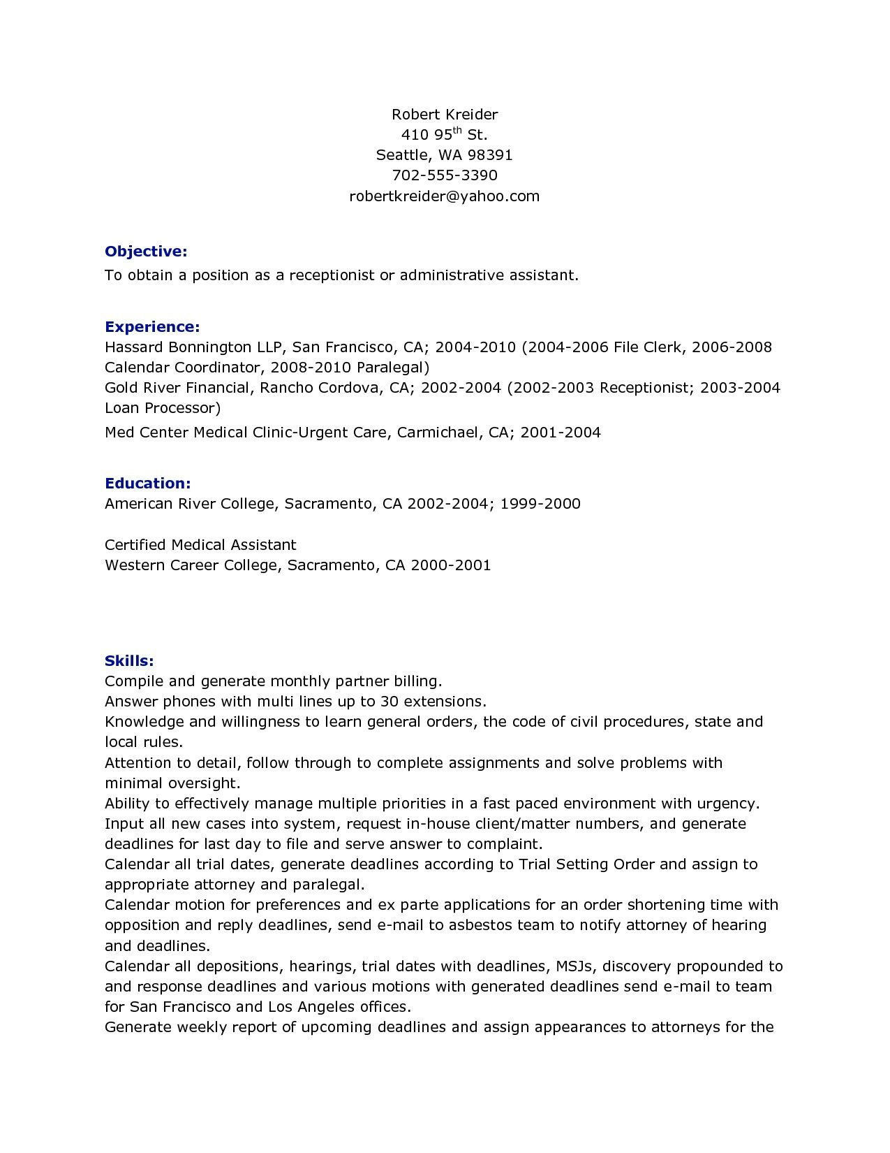 Receptionist Resume Objective - Receptionist Resume Objective we ...
