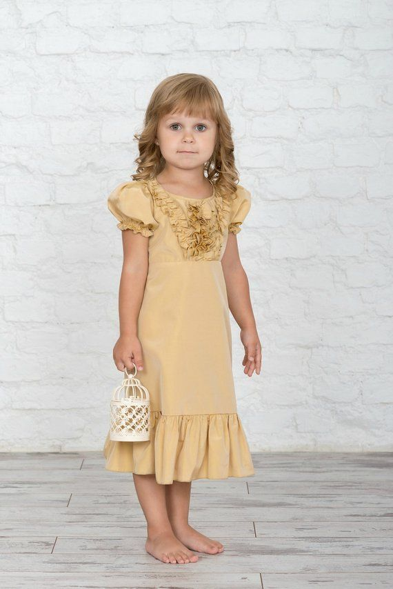 01b4a8abf1b3 Puff sleeves maxi junior bridesmaid dress in gold color in 2019 ...