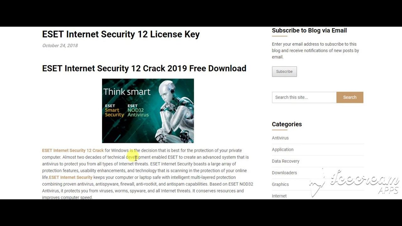Eset Internet Security 12 License Key Internet Security Internet Youtube