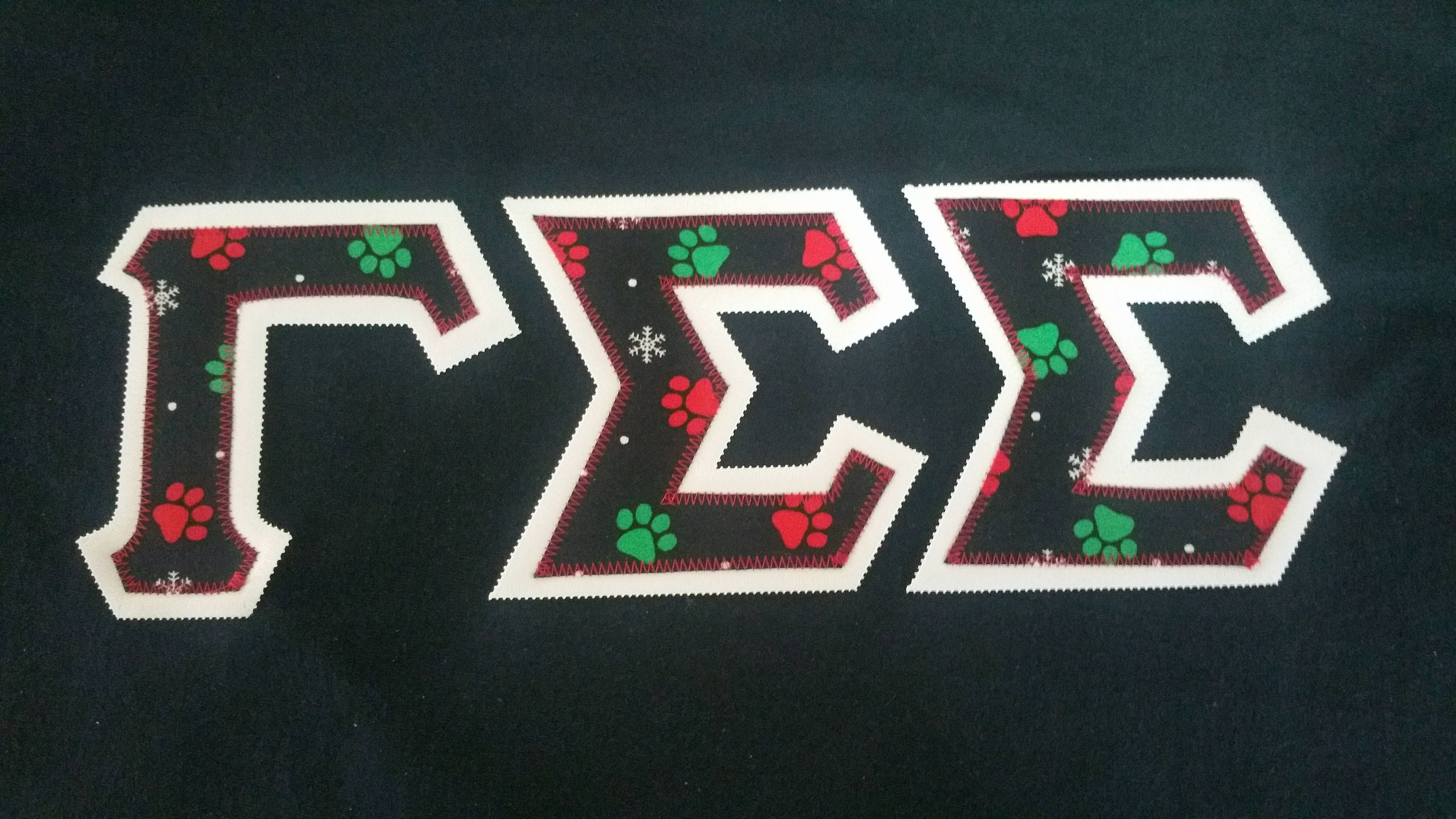 T Shirt Gamma Sigma Sigma With Double Fabric Letters White Paw Prints 18 00 Https Www Etsy Com Sho Fabric Letters Paw Print Sorority And Fraternity