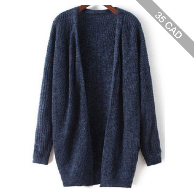 SheIn(sheinside) Navy Long Sleeve Loose Knit Cardigan | Long