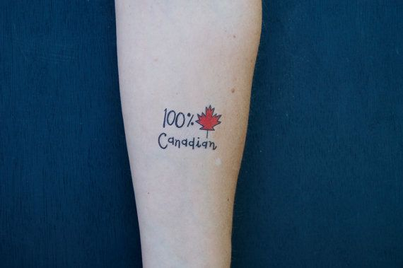Small Canada Tattoo: 100 Canadian Temporary Tattoo SET OF 2 By By Carolyndraws