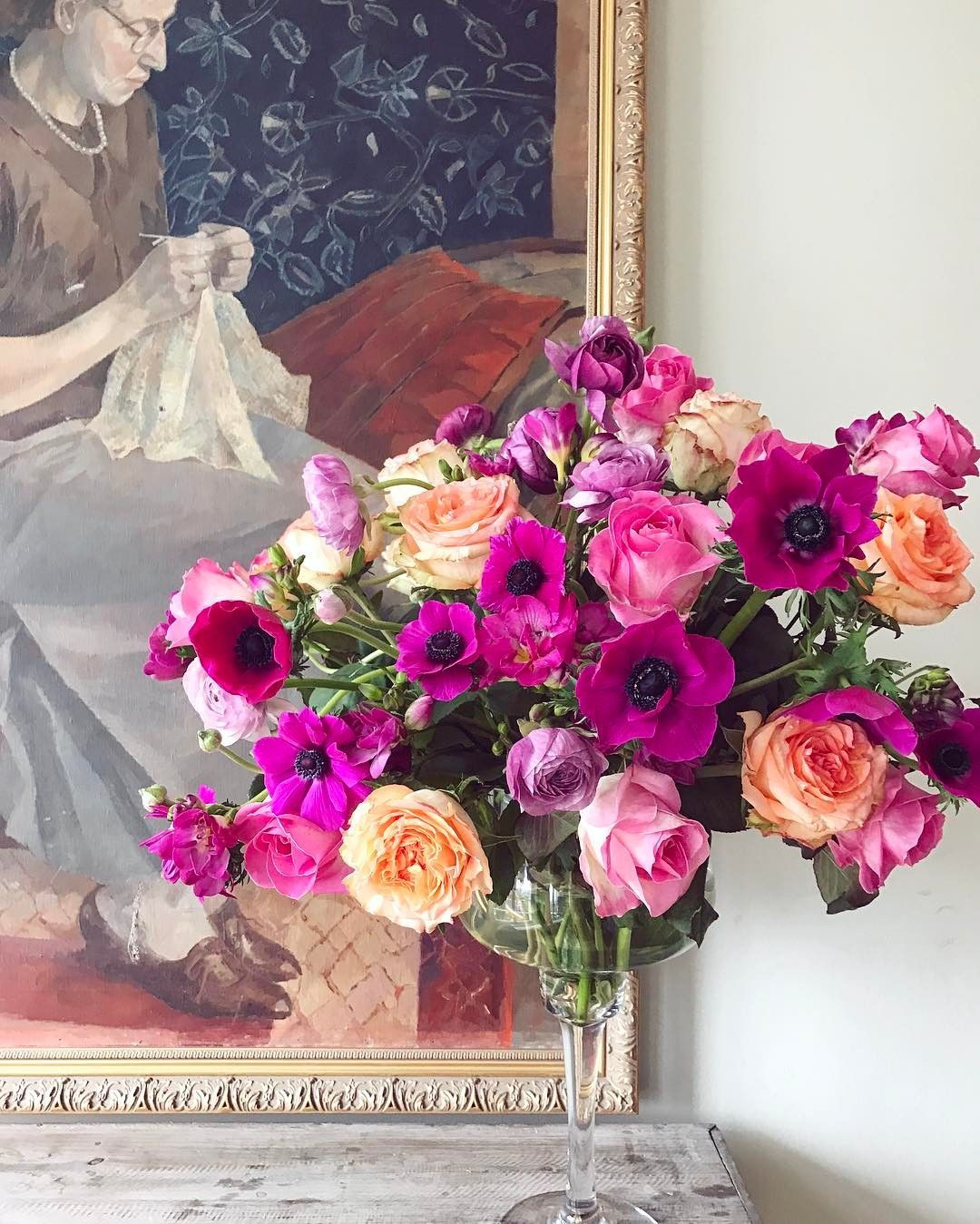 Happy sunday from my home to yours roses anemones and ranunculus