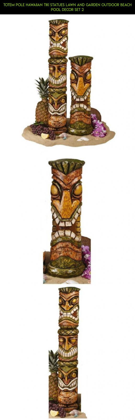 Totem Pole Hawaiian Tiki Statues Lawn And Garden Outdoor Beach Pool Decor Set 2 Ping