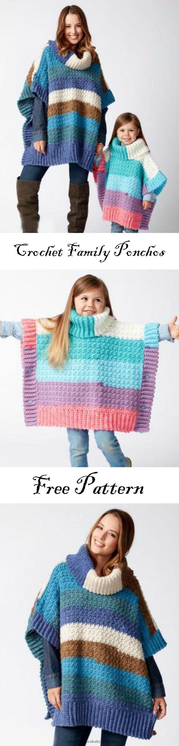 Baby Knitting Patterns Crochet Family Ponchos...   Baby Knitting ...