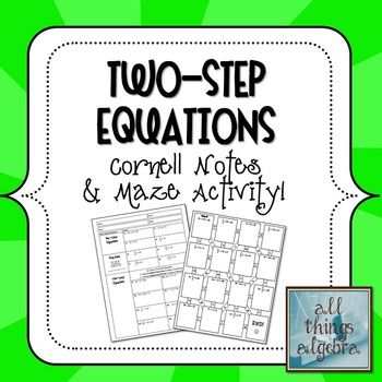 Two Step Equations Notes Maze Activity Two Step Equations