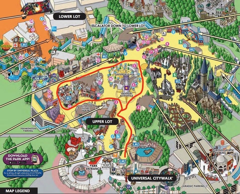Specified Universal Studios Hollywood Map Universal Studio ...