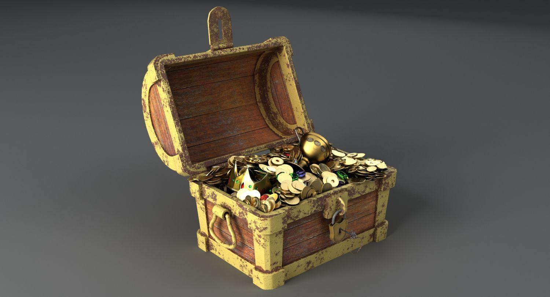 3d model #treasure #chest #wood #gold #case #bin #antique #coffre