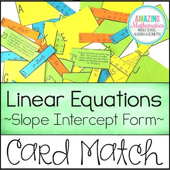 Linear Equation Card Match Slope Intercept Form Equation Linear
