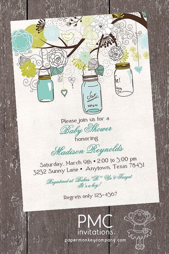 Vintage Baby Shower Invitation Mason Jars