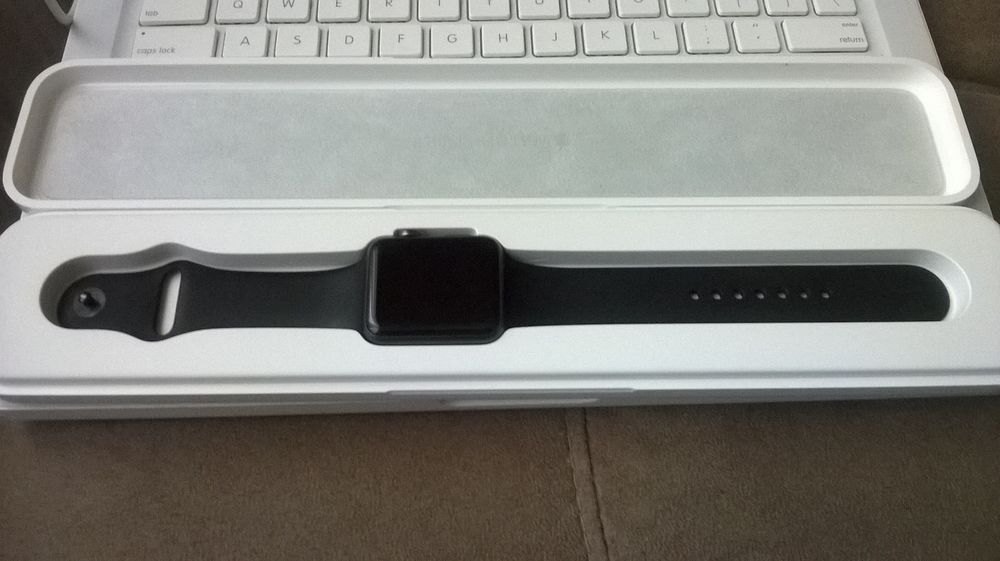 Apple WATCH SPORT 42mm Space Gray Aluminum Case Black Sport Band #Apple