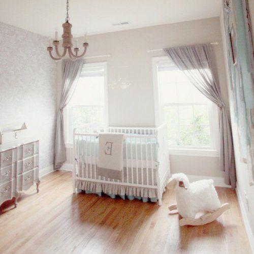 kinderzimmer gestalten idee pastell mädchen gardinen kinderbett ...